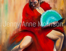 Flamenco Dancer with a Turquoise Fan