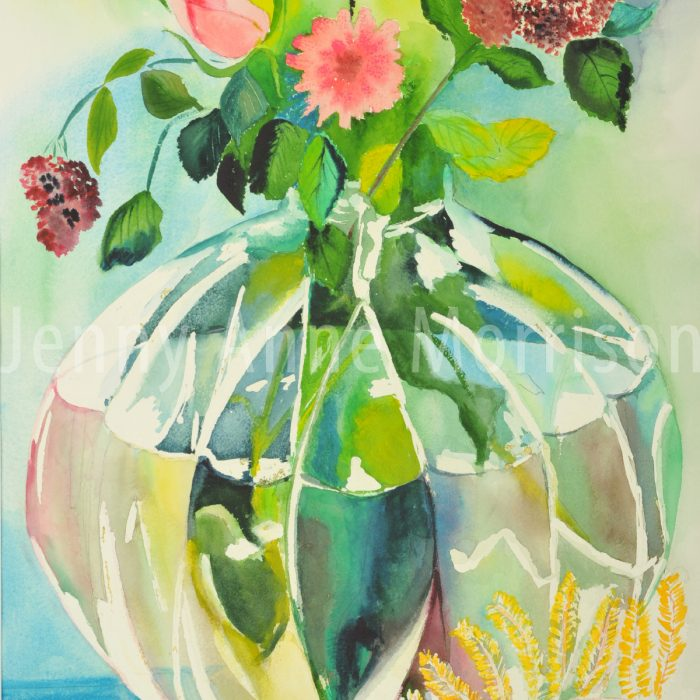 Big Round Vase and Pink Flowers
