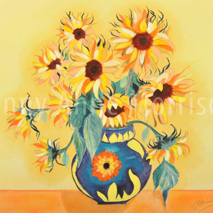 Sunflowers in a Floral Vase